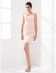 Bridesmaid Dress Short Mini Lace Sheath Column Queen Anne Dress (1466929)