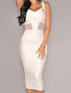 Women's Club Bodycon Dress,Solid Deep V Knee-length Sleeveless White Polyester / Spandex All Seasons