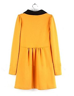 Women's Casual/Daily Cute A Line Dress,Color Block Peter Pan Collar Mini Long Sleeve Red / Black / Yellow Cotton / Polyester Spring / Fall