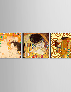 Stretched Canvas Art Mother and Son and Kiss by Klimt Set of 3