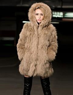 dámská módní ležérní imitace kožešiny teplý kabát s kloboukem