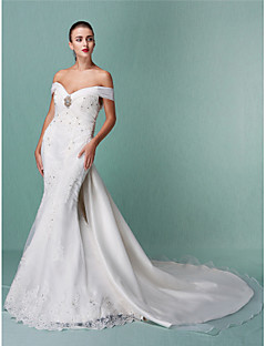 Trumpet/Mermaid Petite / Plus Sizes Wedding Dress-Ivory Chapel Train Off-the-shoulder Organza