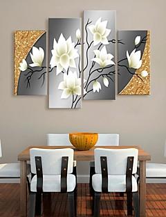 opgespannen doek kunst prachtige bloemen decoratieve set van 4