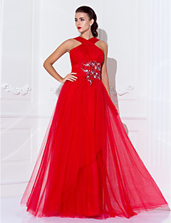 Formal Evening/Military Ball Dress - Ruby Plus Sizes Sheath/Column High Neck Floor-length Tulle