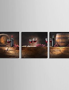 Stretched Canvas Art Still Life Wine and Barrel Set of 3