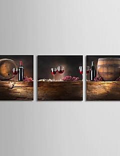 Strakt lærred kunst Still Life Vin og Barrel Sæt med 3