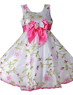Girl's Flower Print Sleeveless Princess Style Dress With Bow,Cotton / Organza Summer / Spring / Fall Knee-length Pink / White