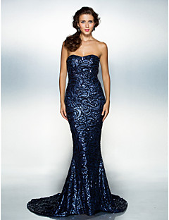 TS Couture Formal Evening Dress - Dark Navy Plus Sizes / Petite Trumpet/Mermaid Sweetheart Court Train Sequined