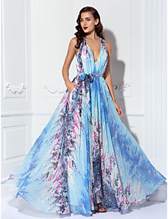TS Couture® Prom / Formal Evening / Military Ball Dress - Elegant / Floral / Open Back / Sexy Sheath / Column Halter Asymmetrical Chiffon