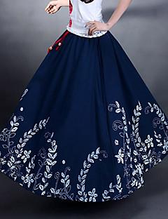 Forår og efterår Bomuld og Hamp Vintage Casual elastik i taljen Kvinder Maxi Sun Nederdele