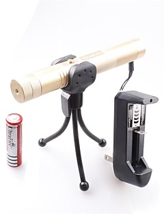 LT-0670 Lockable Muti-image  Adjustable  Match-Burning  Green Laser Pointer (5MW,532nm,1x18650,Golden)
