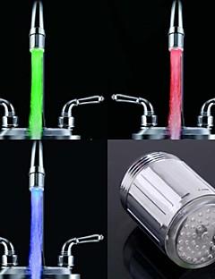 stijlvolle waterstroom kleurrijke lichtgevende led kraan licht (plastic, chroom afwerking)