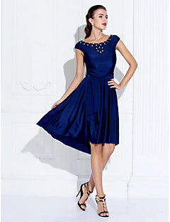 Cocktail Party / Company Party / Family Gathering Dress Plus Size / Petite A-line Jewel Asymmetrical Jersey withBeading / Crystal