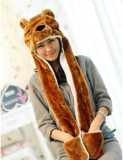 Unisex Long Section  Cute Brown Bear  Warm Fuzzy Kigurumi Aminal Beanie