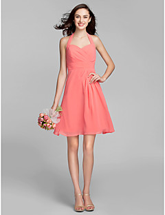 LAN TING BRIDE Knee-length Halter Bridesmaid Dress - Mini Me Sleeveless Georgette