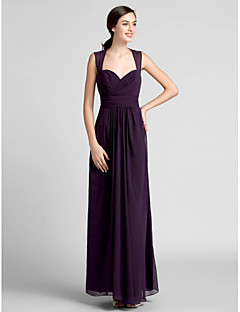 Lanting Bride® Floor-length Chiffon Bridesmaid Dress Sheath / Column Sweetheart Plus Size / Petite with Draping / Criss Cross / Ruching
