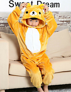 Kigurumi Pajamas Bear Leotard/Onesie Halloween Animal Sleepwear Yellow Patchwork Flannel Kigurumi Kid Halloween