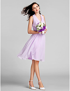 Lanting Bride® Knee-length Chiffon Bridesmaid Dress Sheath / Column Halter Plus Size / Petite with Draping / Ruching