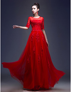 Formal Evening Dress - Ruby Plus Sizes A-line / Princess Jewel Floor-length Tulle