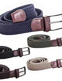 Men's Outdoor Sports Camping High Quality Genuine Leather Elastic Belts 3.5x110cm (Khaki Olive Chocolate Navy Black)