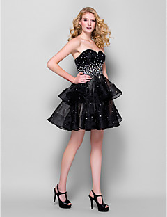 hemkomst cocktailparty klänning - svart balklänning älskling kort / mini organza