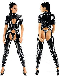 heiße enge Tau Brust Trikot schwarz PU-Leder sexy Uniformen