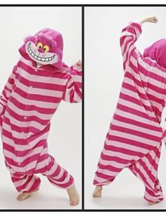 着ぐるみ パジャマ ネコ チェシャ猫 レオタード/着ぐるみ イベント/ホリデー 動物パジャマ ハロウィーン レッド ストライプ フリース きぐるみ ために 男女兼用 ハロウィーン