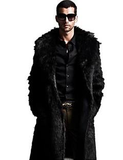 Men's Plus Size Solid Black Fur Coat,Long Sleeve