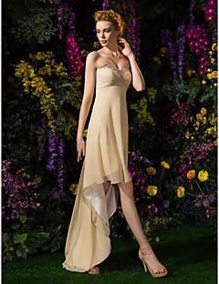 A-Line Sweetheart Asymmetrical Georgette Bridesmaid Dress with Beading Criss Cross Ruching by LAN TING BRIDE®