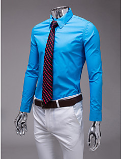 sky blue slim fit shirt met lange mouw