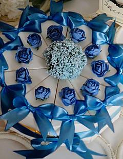 witte cake voor doos met blauwe roos & boog (set van 10)