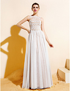 A-line Bateau Floor-length Lace And Tulle Bridesmaid Dress (1846389)
