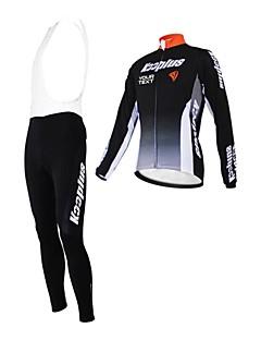 KOOPLUS® חולצת ג'רסי וטייץ ביב לרכיבה לנשים / לגברים / יוניסקס שרוול ארוך אופנייםנושם / שמור על חום הגוף / רוכסן עמיד למים / לביש /
