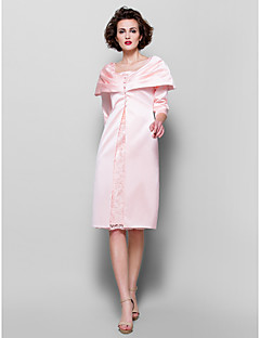 Sheath/Column Plus Sizes Mother of the Bride Dress - Pearl Pink Knee-length 3/4 Length Sleeve Lace/Satin