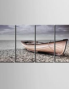 電子home®は、キャンバスアートが4の船の海岸装飾画セットを停止伸ばし