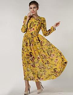 De las mujeres Corte Swing Vestido Casual Floral Maxi Cuello Barco Poliéster