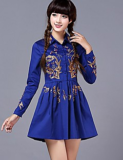 MYVIVI Women's All Match Vintage Wmbroidery Long Sleeve Dress