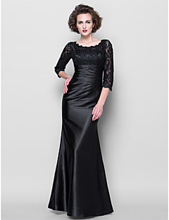 Trumpet/Mermaid Plus Sizes / Petite Mother of the Bride Dress - Black Floor-length 3/4 Length Sleeve Lace / Stretch Satin