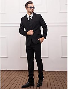 Black Serge Slim Fit Three-Piece Suit