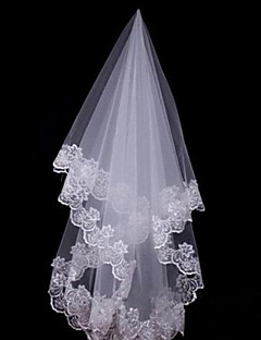 Wedding Veil One-tier Fingertip Veils / Headpieces with Veil Lace Applique Edge 59.06 in (150cm) Tulle / Lace