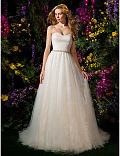 Lanting Bride® Ballkleid Extraklein Hochzeitskleid Kirchen Schleppe Herzausschnitt Tüll mit