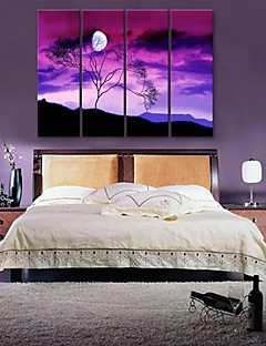 E-HOME® Stretched Canvas Art Under A Tree Decorative Painting  Set of 4