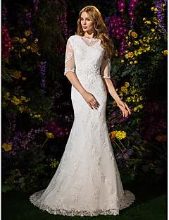 LAN TING BRIDE Trumpet / Mermaid Wedding Dress See-Through Court Train Bateau Lace Tulle with Appliques Beading