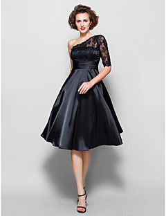 A-line Plus Size / Petite Mother of the Bride Dress - Knee-length Half Sleeve Lace / Stretch Satin