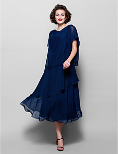 Lanting A-line Plus Sizes / Petite Mother of the Bride Dress - Dark Navy Tea-length Short Sleeve Chiffon