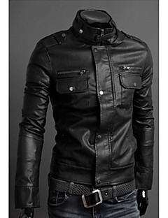 Johnny Men's Casual Stand Long Sleeve Coats & Jackets (PU)