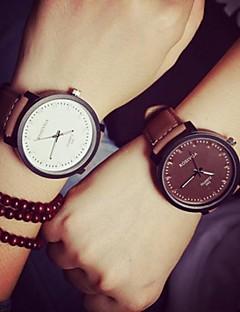 Heren Dames Voor Stel Modieus horloge Kwarts Leer Band Vrijetijdsschoenen Zwart Bruin Wit Zwart Bruin WiZwart