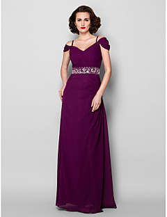Sheath / Column Plus Size / Petite Mother of the Bride Dress Floor-length Short Sleeve Chiffon withBeading / Crystal Detailing / Sash /