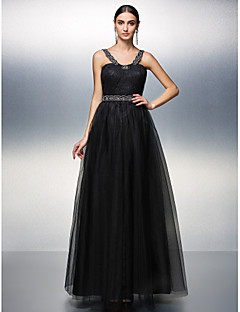 Prom/Formal Evening Dress - Black A-line Straps Floor-length Tulle