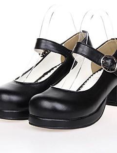 svart PU lær 4,5 cm høy hæl klassiker&tradisjonelle Lolita sko med rad